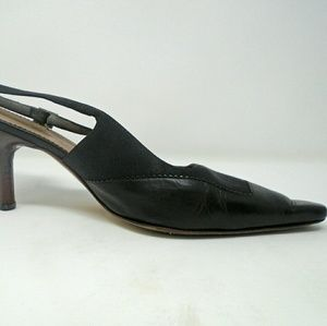 Gucci Black Leather Slingback Kitten Heels